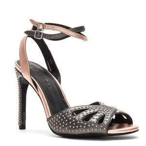 Coach Prairie Rivets Metallic Ankle Strap Heels